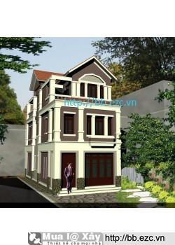 Nhà ống (nhà phố) 6.5x13.5m nở hậu (3 tầng - 4 phòng ngủ)