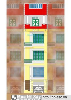 Nhà ống (nhà phố) 5x12m lệch tầng(khuôn viên đất 5x14m - 4 tầng - 4 phòng ngủ)