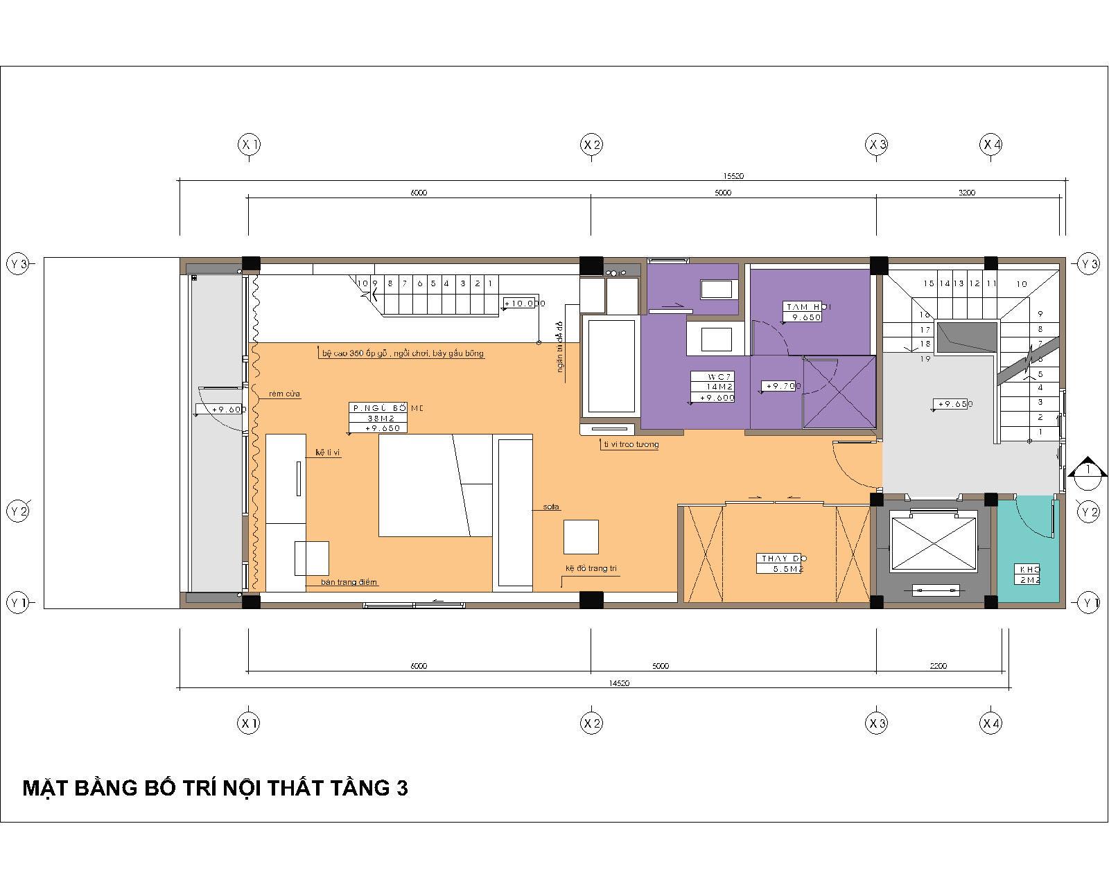 MB tầng 3 - nhà ống 6,2x14,5m - phòng ngủ chính với tiện nghi rất cao
