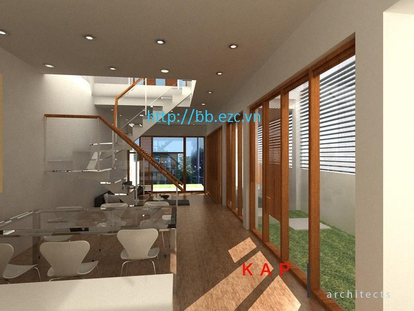 Không gian phòng ăn liên thông với phòng khách - tràn ngập ánh sáng tự nhiên