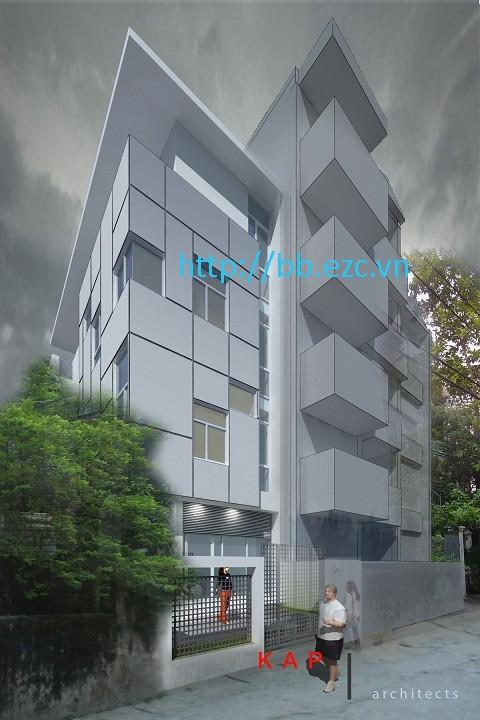 Mặt đứng nhà 6x13,5m - Hình thức phục vụ việc sử dụng bên trong ngôi nhà hơn là phô trương