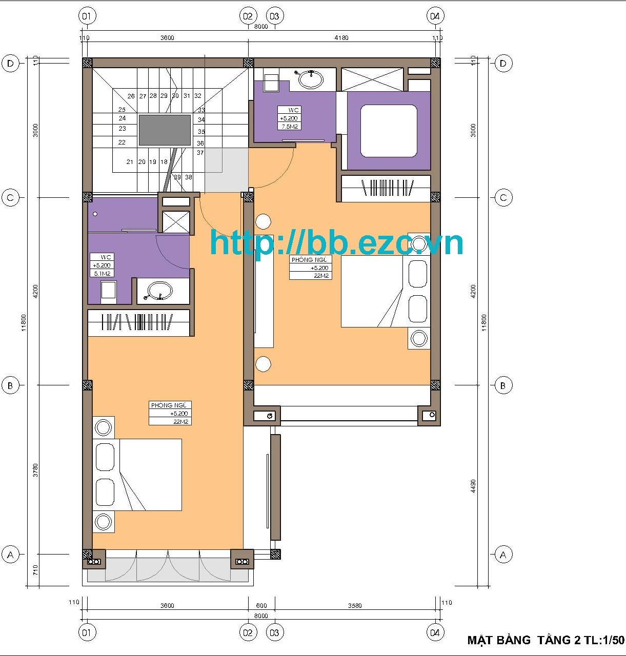 MB nhà phố 8x12m - Các phòng ngủ rộng, tiện nghi cao cấp