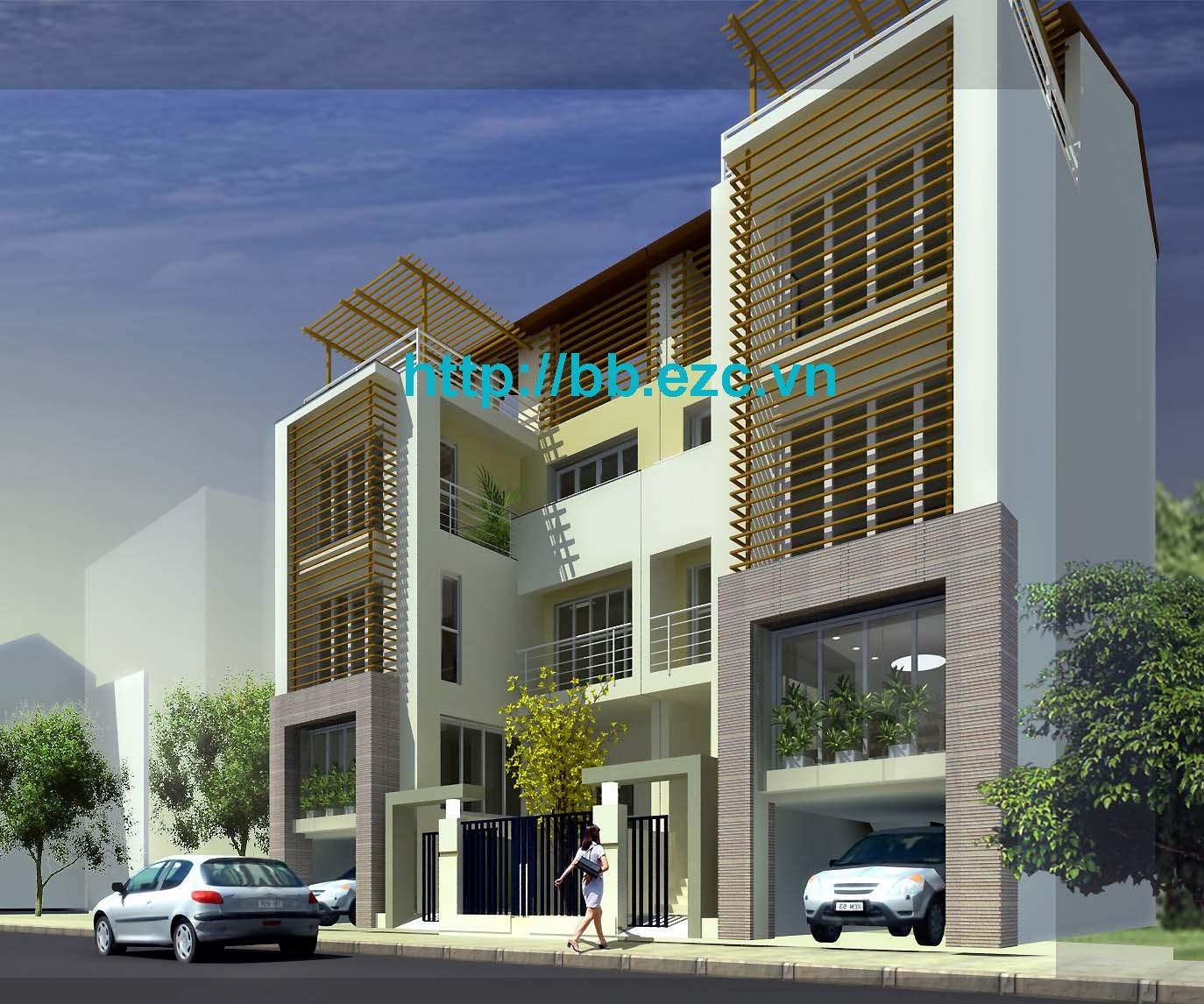 Phối cảnh nhà phố 8x12m song lập - Sân trước liên hợp hai nhà tạo hình khối, chi tiết sinh động