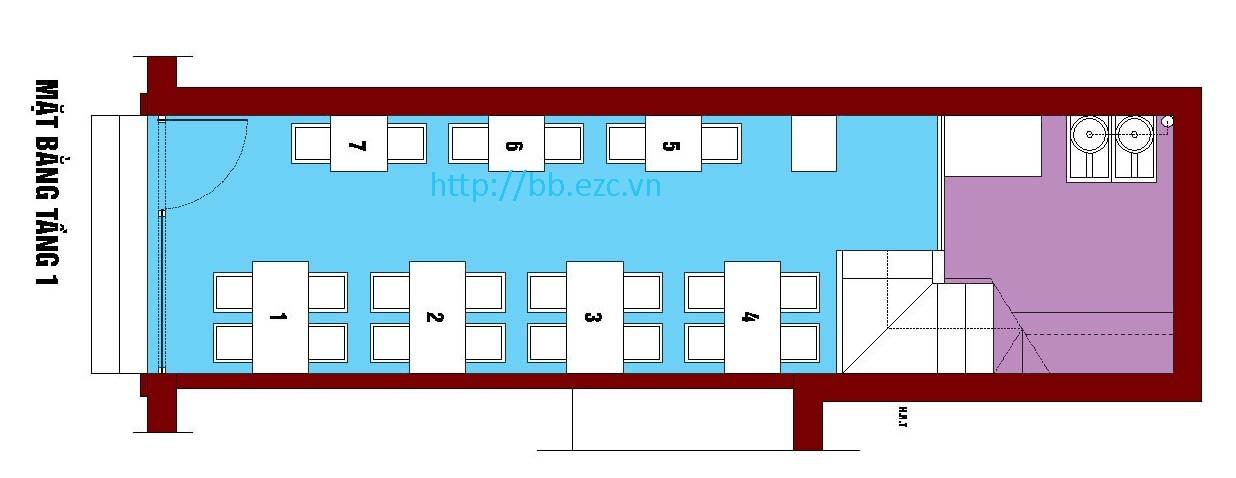 Tầng 1-2 dùng làm cửa hàng với khoảng 15 bàn phục vụ khách ăn uống