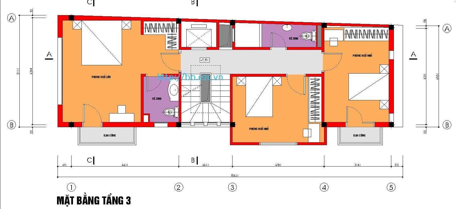 Mặt bằng tầng 3 - nhà ống 5x15m có bố trí thang máy