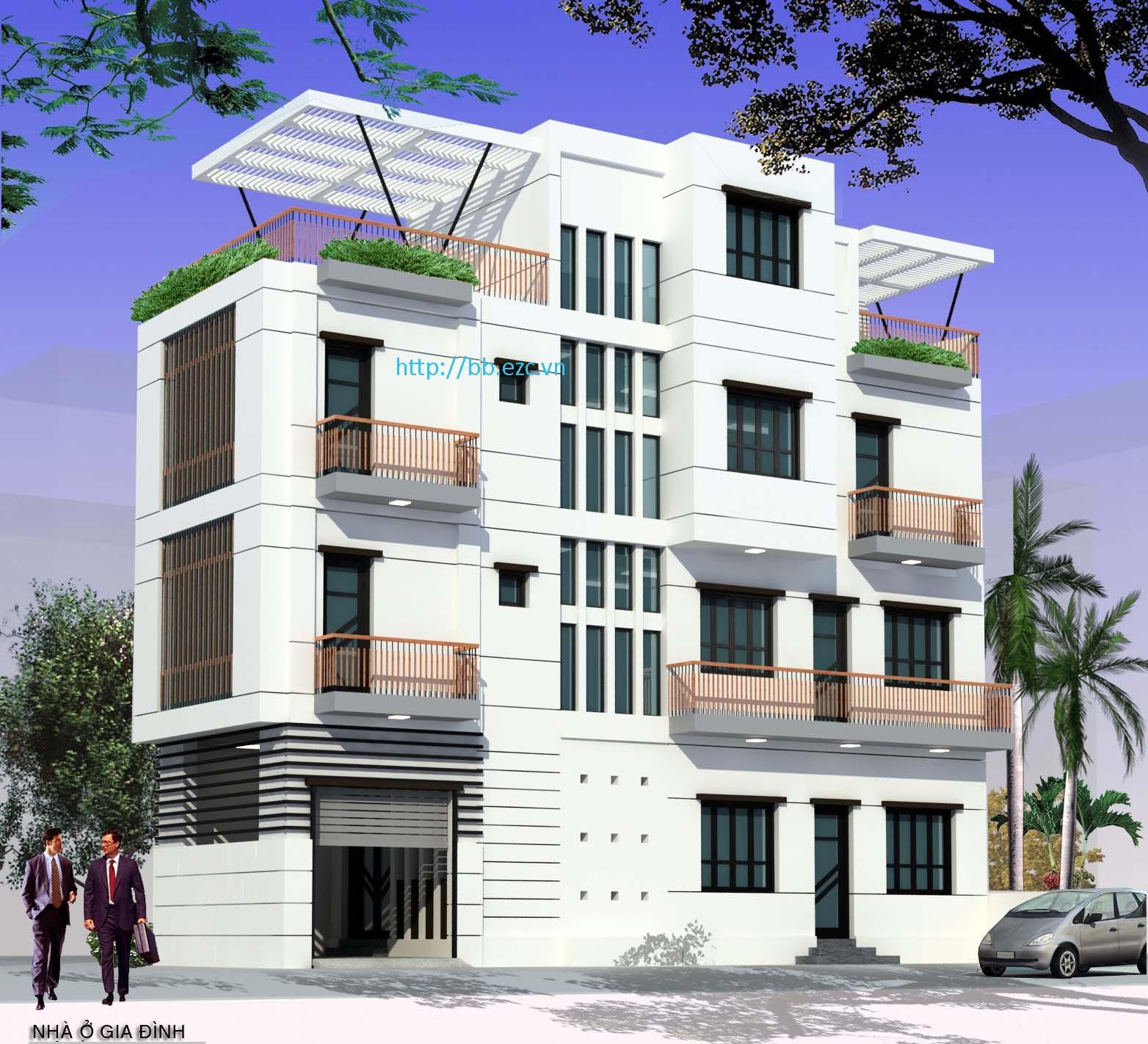 Phối cảnh nhà ống 5x15m - Kiến trúc hiện đại với lam che nắng thích hợp khí hậu nhiệt đới