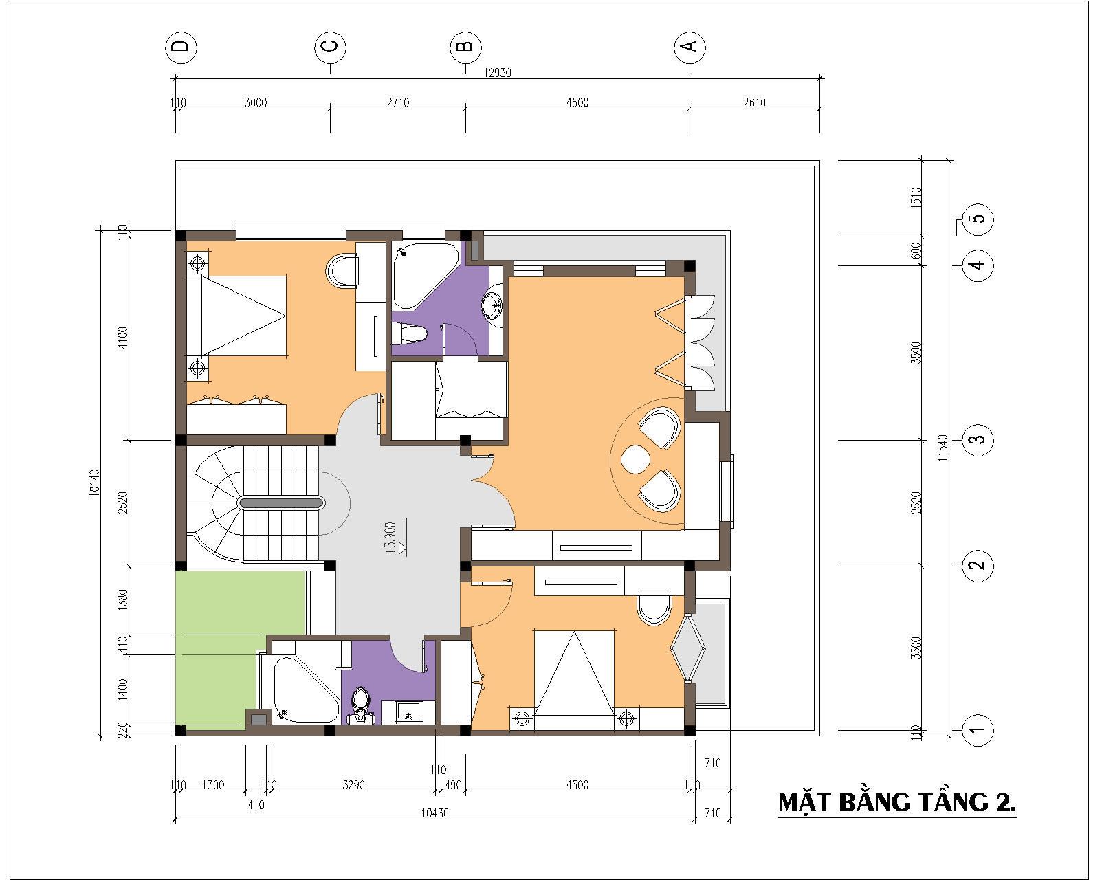 Biệt thự / nhà vườn 10x10m trên đất 12x13m - Mặt bằng tầng 2