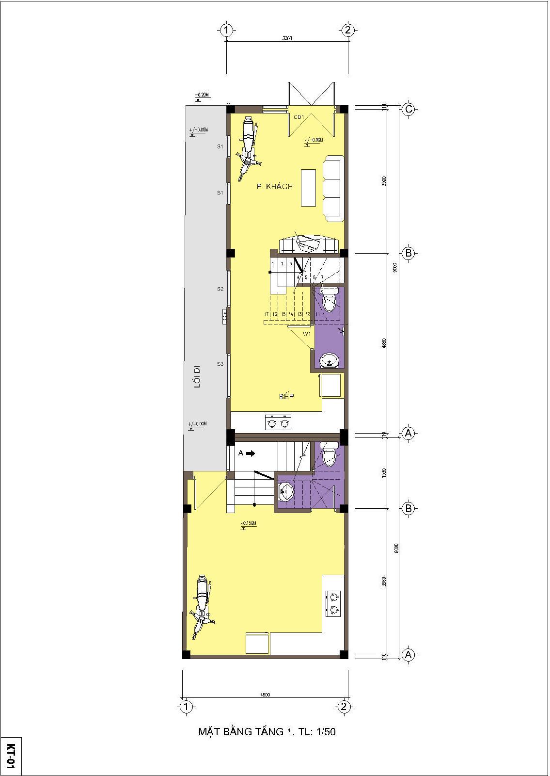 Nhà ống / nhà phố 4.5x15m - Mặt bằng tầng 1
