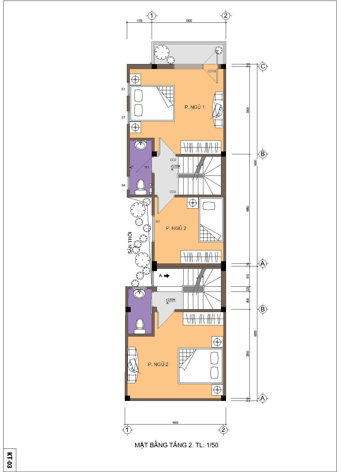 Nhà ống / nhà phố 4.5x15m - Mặt bằng tầng 2