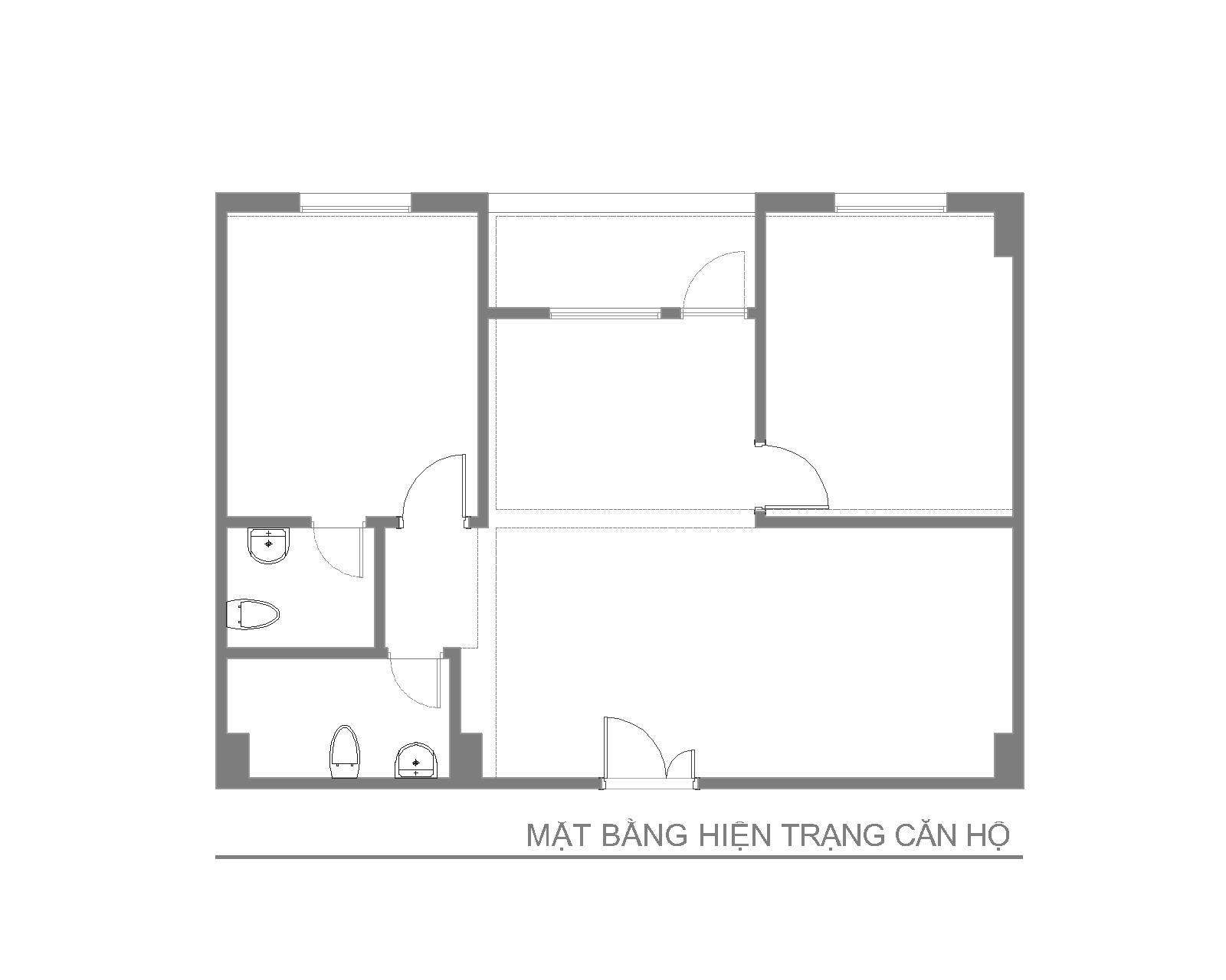 Nội thất căn hộ số 02 - Chung cư CT10 - Khu đô thị Việt Hưng- Mặt bằng trước cải tạo
