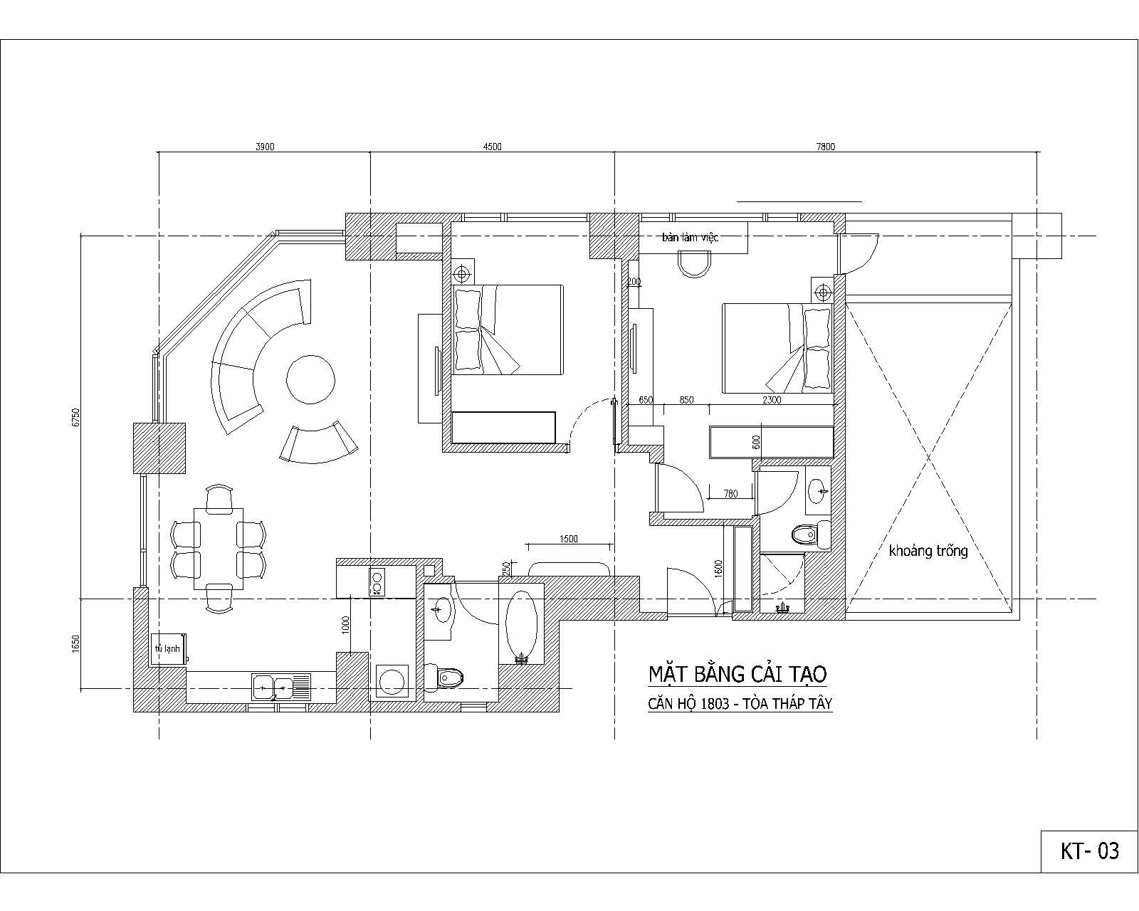 Cải tạo nội thất chung cư - Làng Quốc tế Thăng long - MB cải tạo, bố trí nội thất