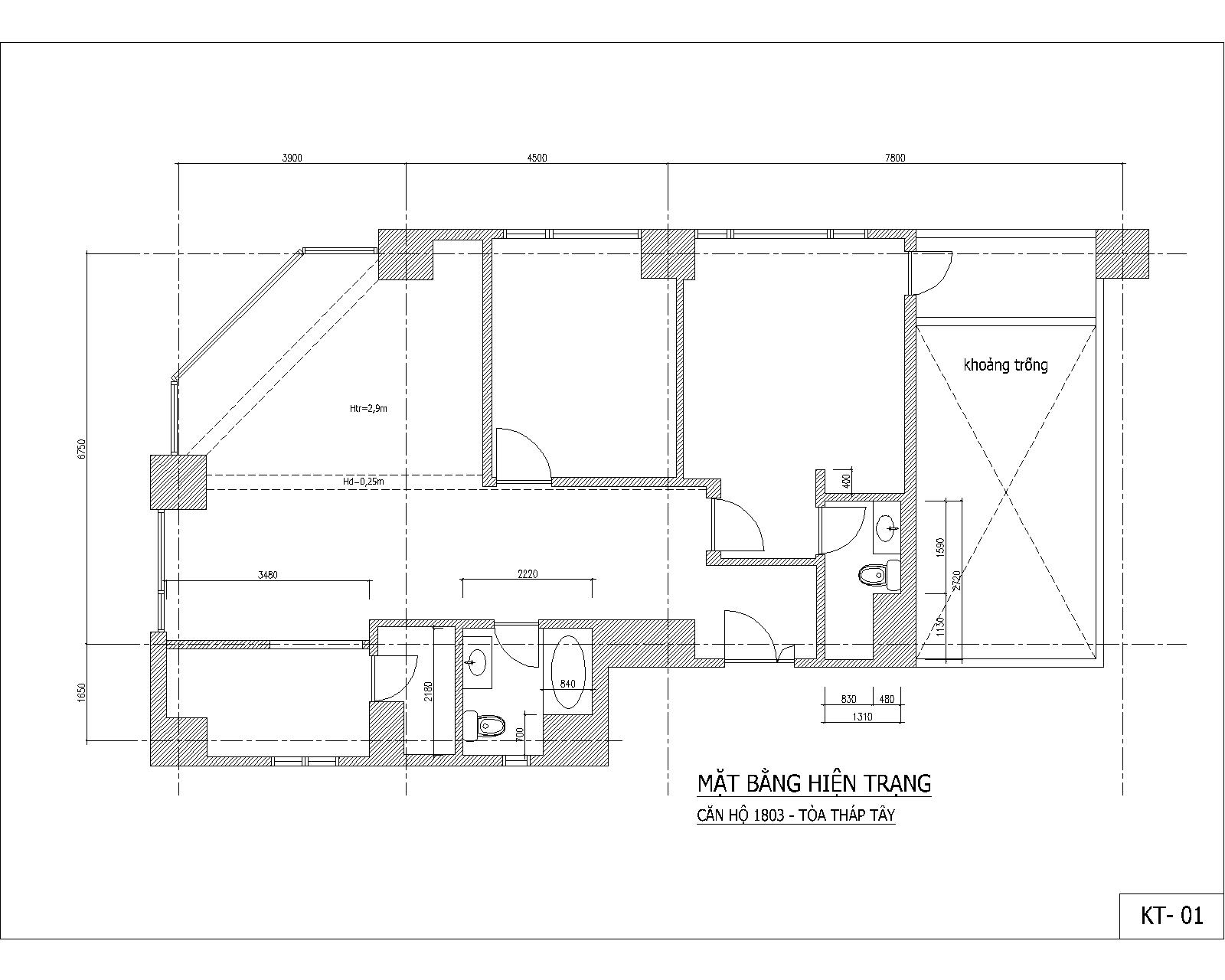 Cải tạo nội thất chung cư - Làng Quốc tế Thăng long - MB hiện trạng