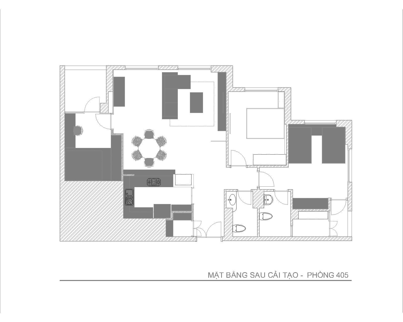 Nội thất căn hộ chung cư phòng số 05- Chung cư 25 Lạc Trung - Mặt bằng cải tạo
