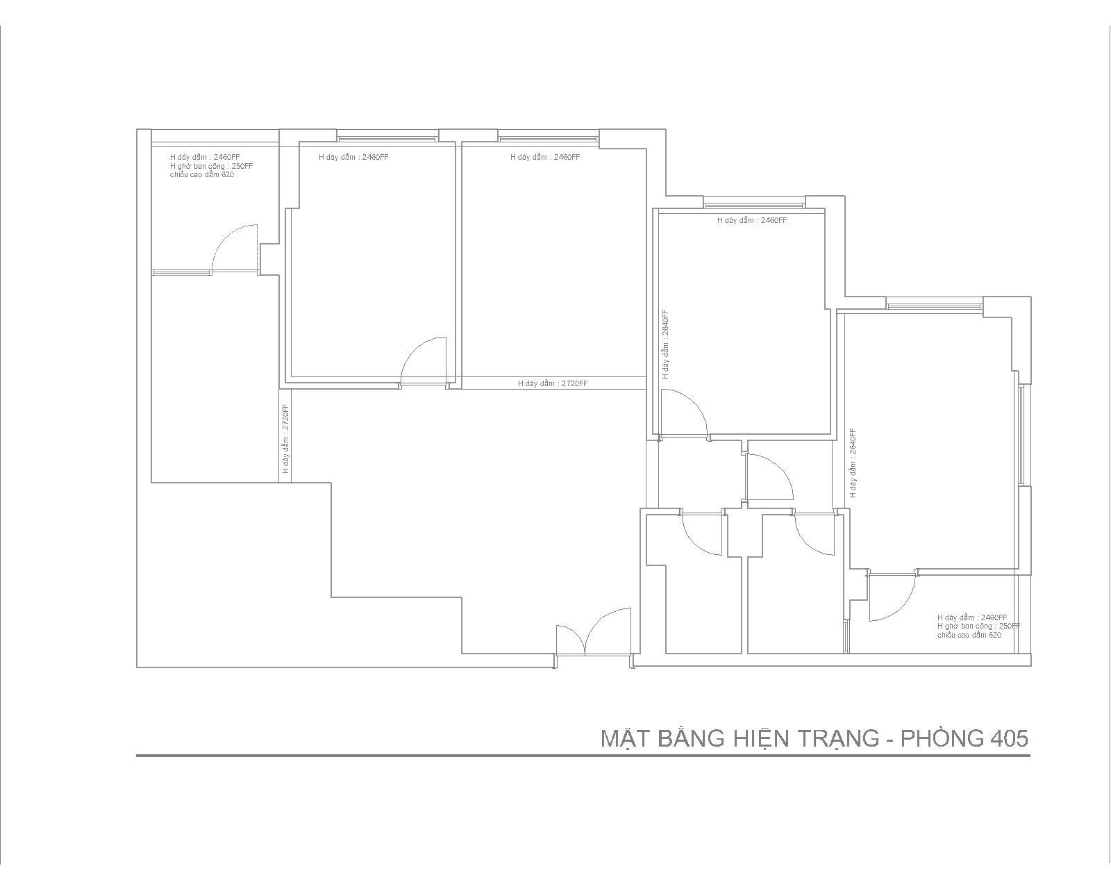 Nội thất căn hộ chung cư phòng số 05- Chung cư 25 Lạc Trung - Mặt bằng hiện trạng