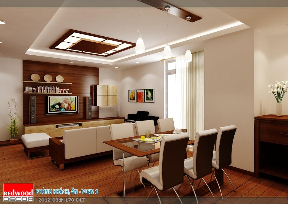 Nội thất căn hộ số 05 - chung cư GP Building - Không gian phòng khách và phòng ăn liên thông, tiện dụng