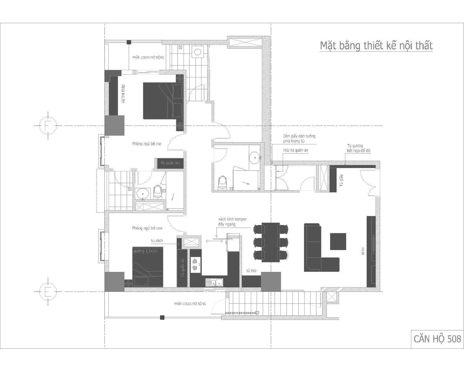 Nội thất căn hộ số 05 - chung cư GP Building - Mặt bằng cải tạo nội thất không thay đổi nhiều về kết cấu và  cấu trúc căn hộ mà xử lý, tận dụng các không gian bất lợi thành chức năng sử dụng hợp lý