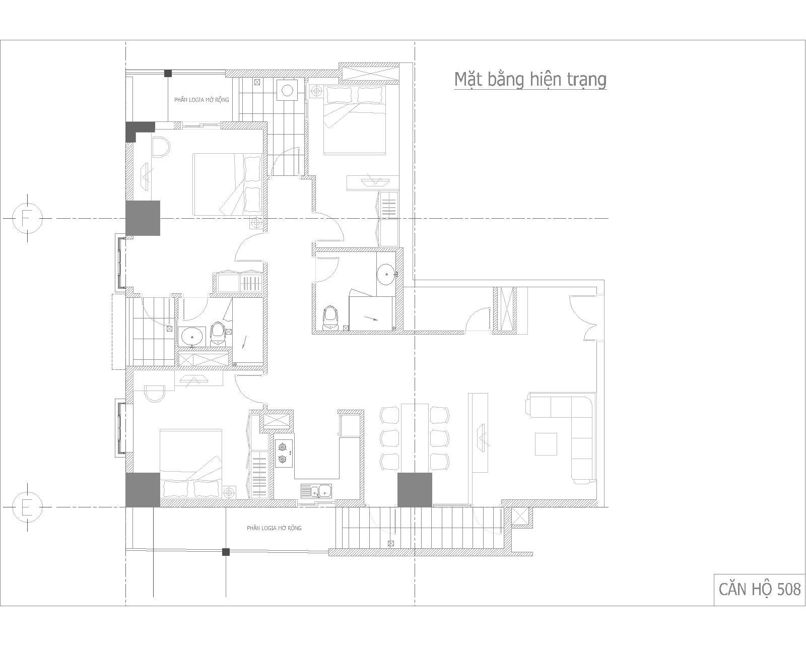 Nội thất căn hộ số 05 - chung cư GP Building - Mặt bằng hiện trạng với nhiều ngóc ngách do trong nhà có khá nhiều cột kết cấu lớn và hộp kỹ thuật