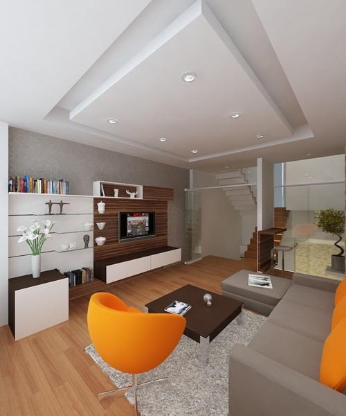 Nội thất nhà ống / nhà phố 4x15m (4 tầng - 4 phòng ngủ) - phòng khách trong không gian bề ngang chỉ 4m nhưng vẫn cảm thấy rộng rãi