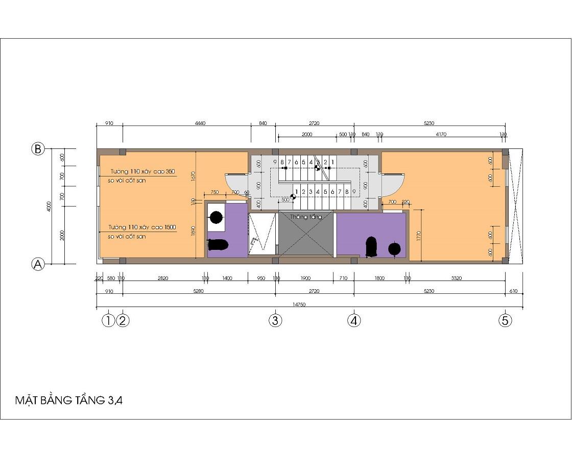 Nội thất nhà ống / nhà phố 4x15m (4 tầng - 4 phòng ngủ) - cầu thang giữa, 2 phòng ngủ lệch tầng về 2 phía của mặt bằng
