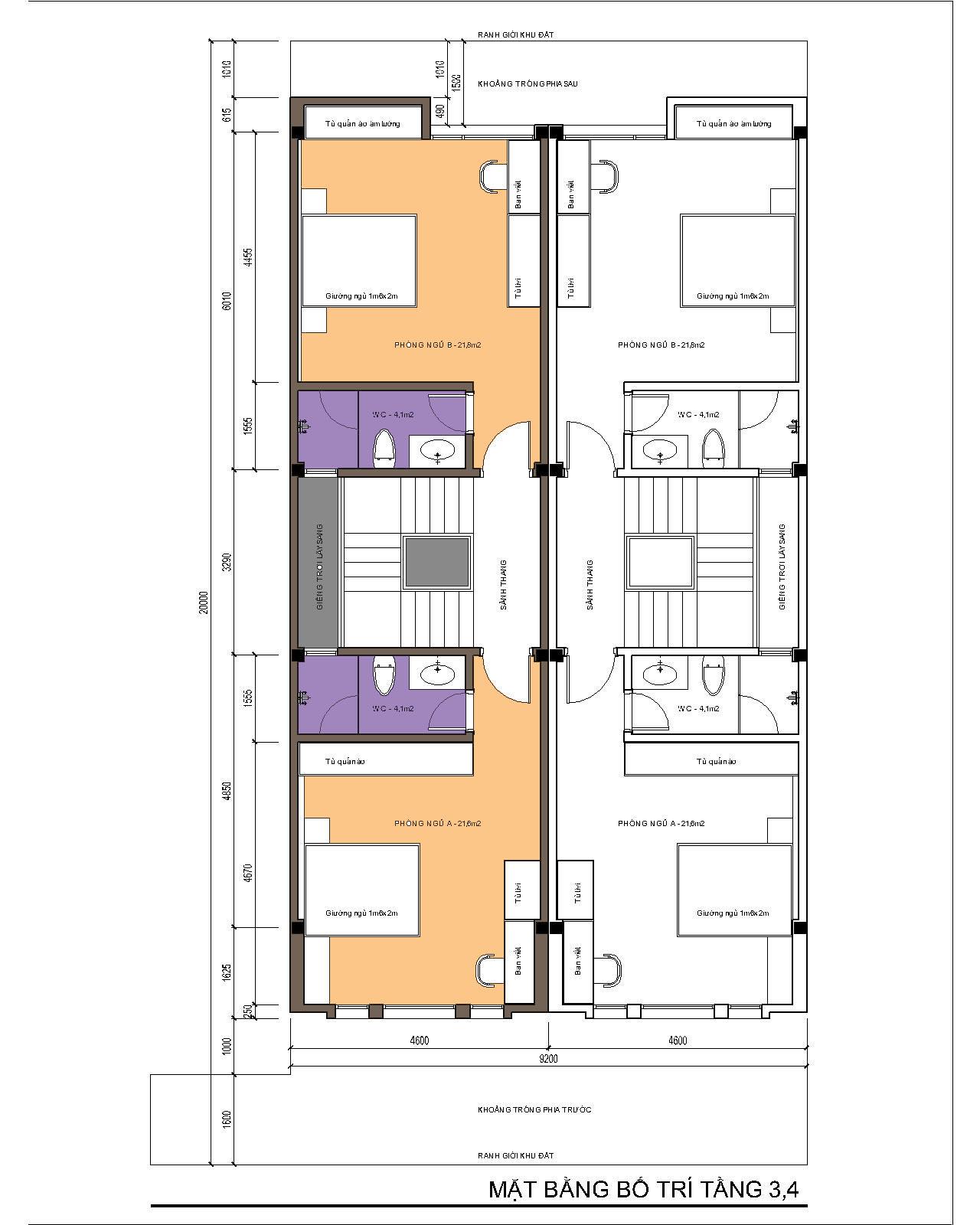 Nhà ống / nhà phố 4.6x15 (5 tầng - 5 phòng ngủ) - mặt bằng tầng 3-4