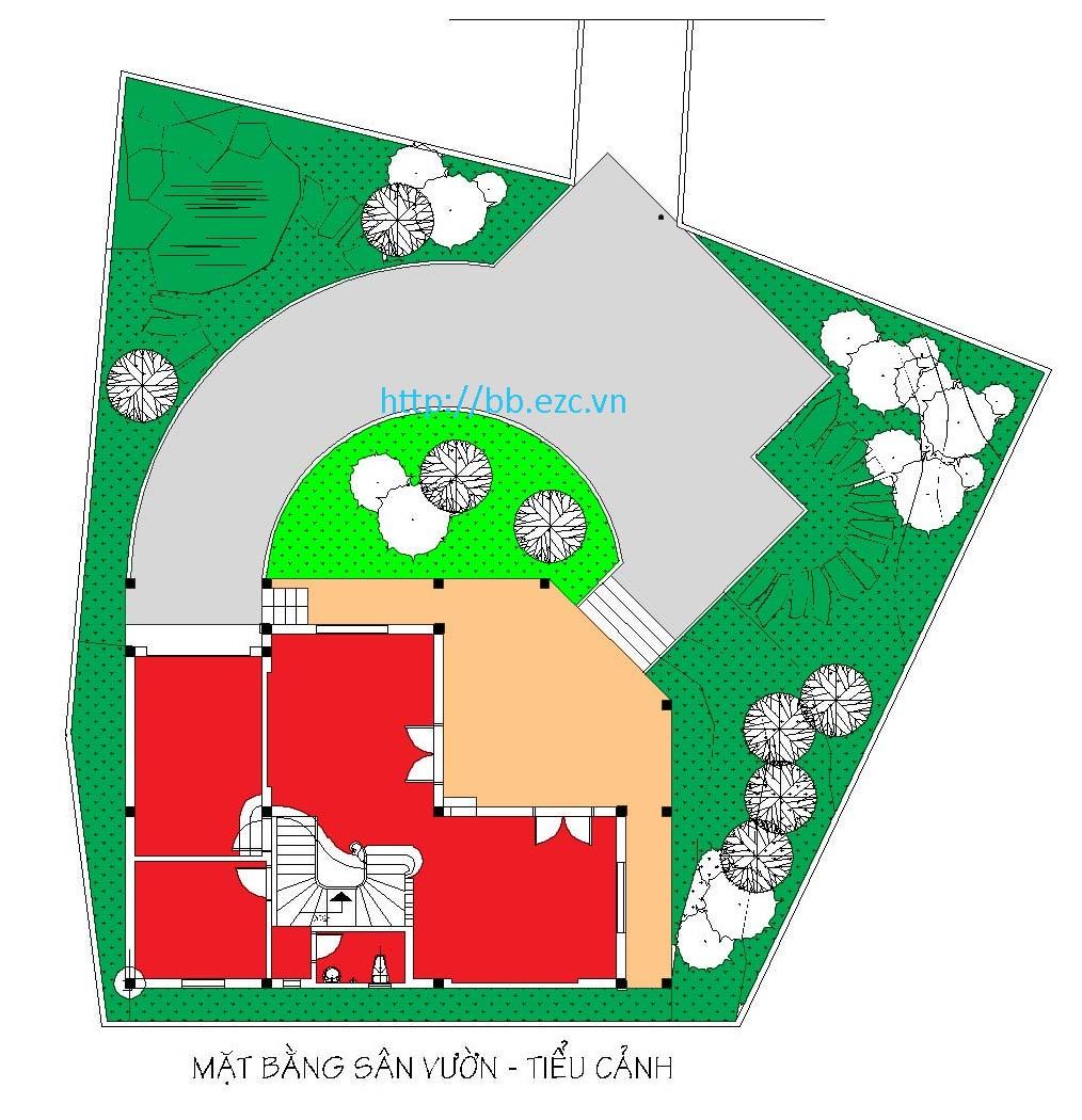 Tổng thể ngôi nhà lọt trong một không gian sân vườn tiểu cảnh xanh mướt