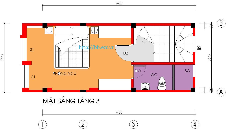 Nhà ống / nhà phố 3.5x7.5m - Mặt bằng tầng 3
