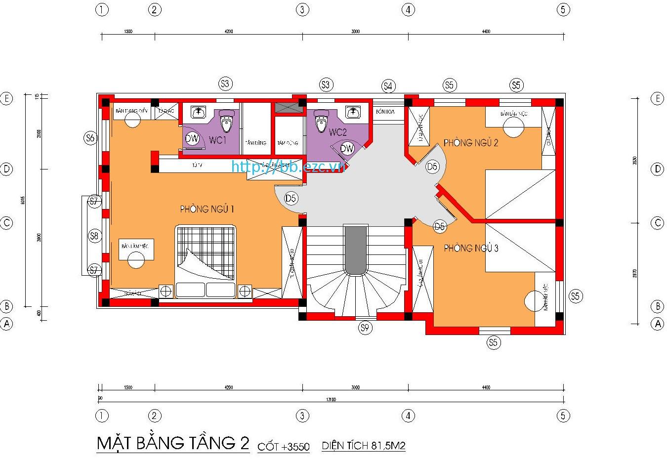 Tầng 2 gồm tới 3 phòng ngủ
