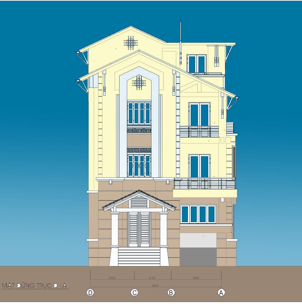 Biệt thự / nhà vườn 10x15m trên đất 13x22m - Mặt đứng chính