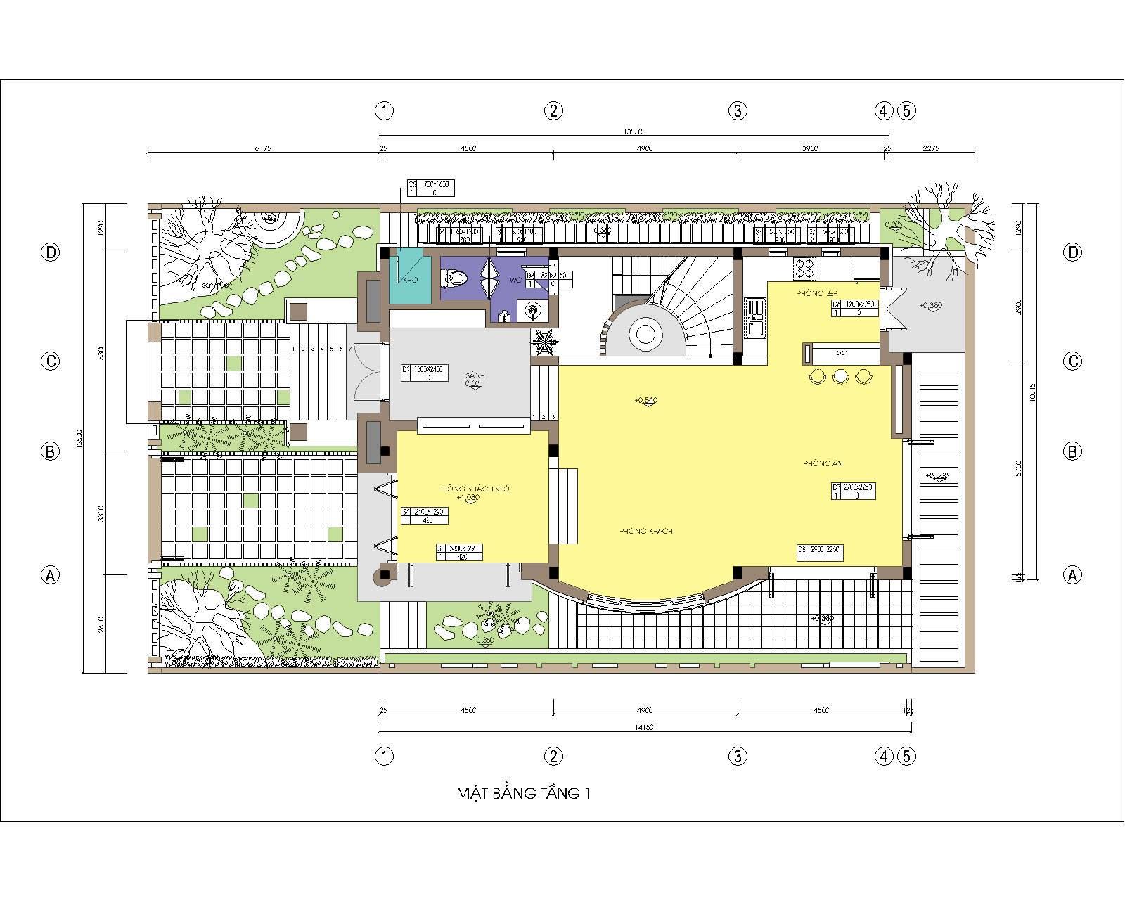 Biệt thự / nhà vườn 10x15m trên đất 13x22m - Mặt bằng tầng 1
