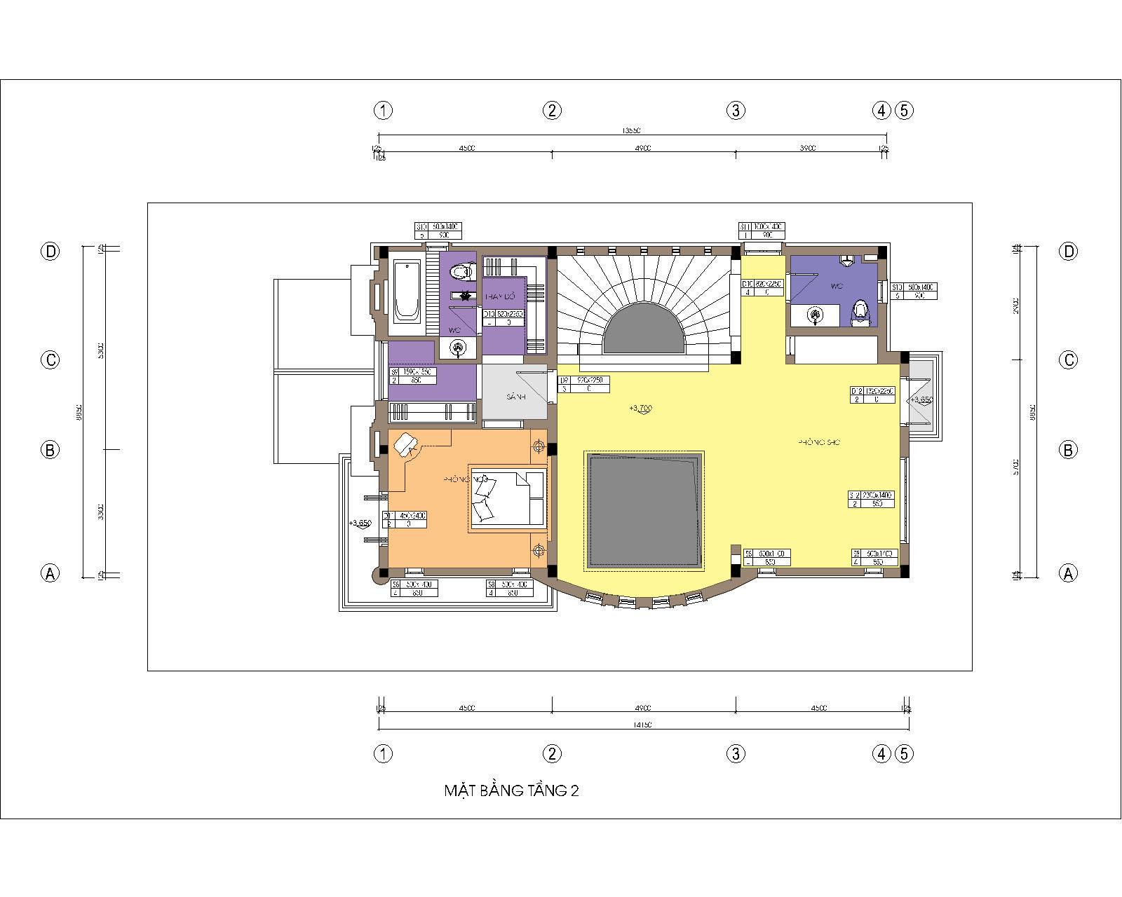 Biệt thự / nhà vườn 10x15m trên đất 13x22m - Mặt bằng tầng 2