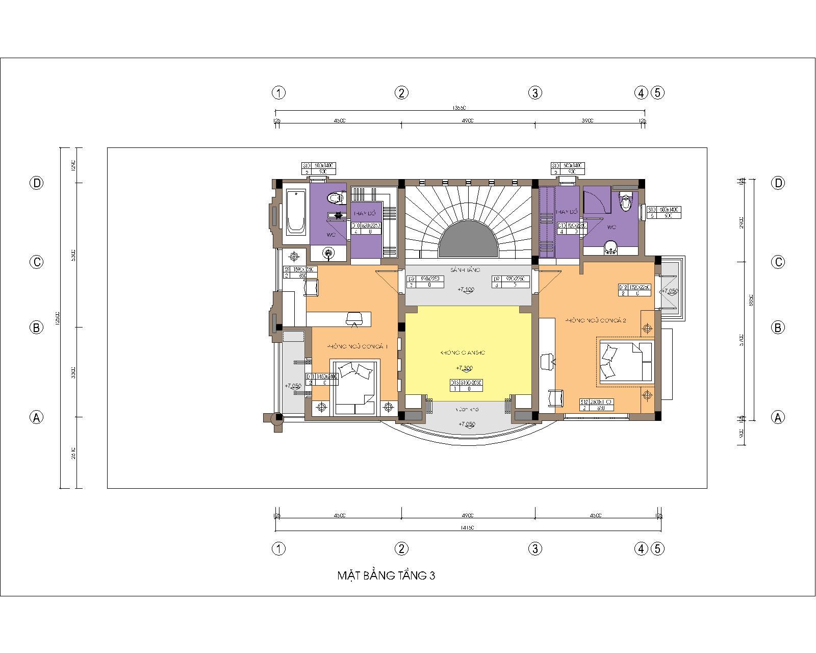 Biệt thự / nhà vườn 10x15m trên đất 13x22m - Mặt bằng tầng 3