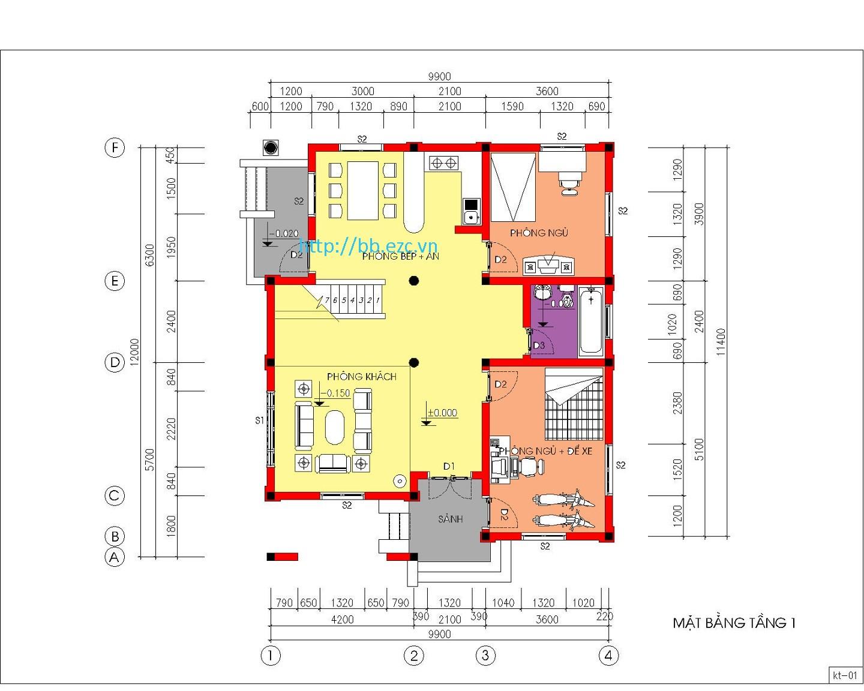 Biệt thự / nhà vườn 10x12m (2 tầng - 4 phòng ngủ) - Mặt bằng tầng 1