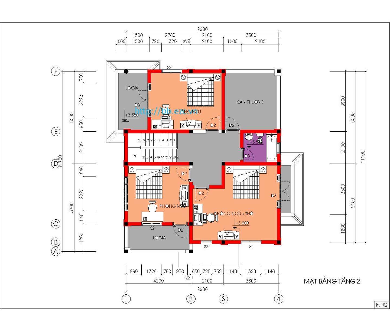Biệt thự / nhà vườn 10x12m (2 tầng - 4 phòng ngủ) - Mặt bằng tầng 2