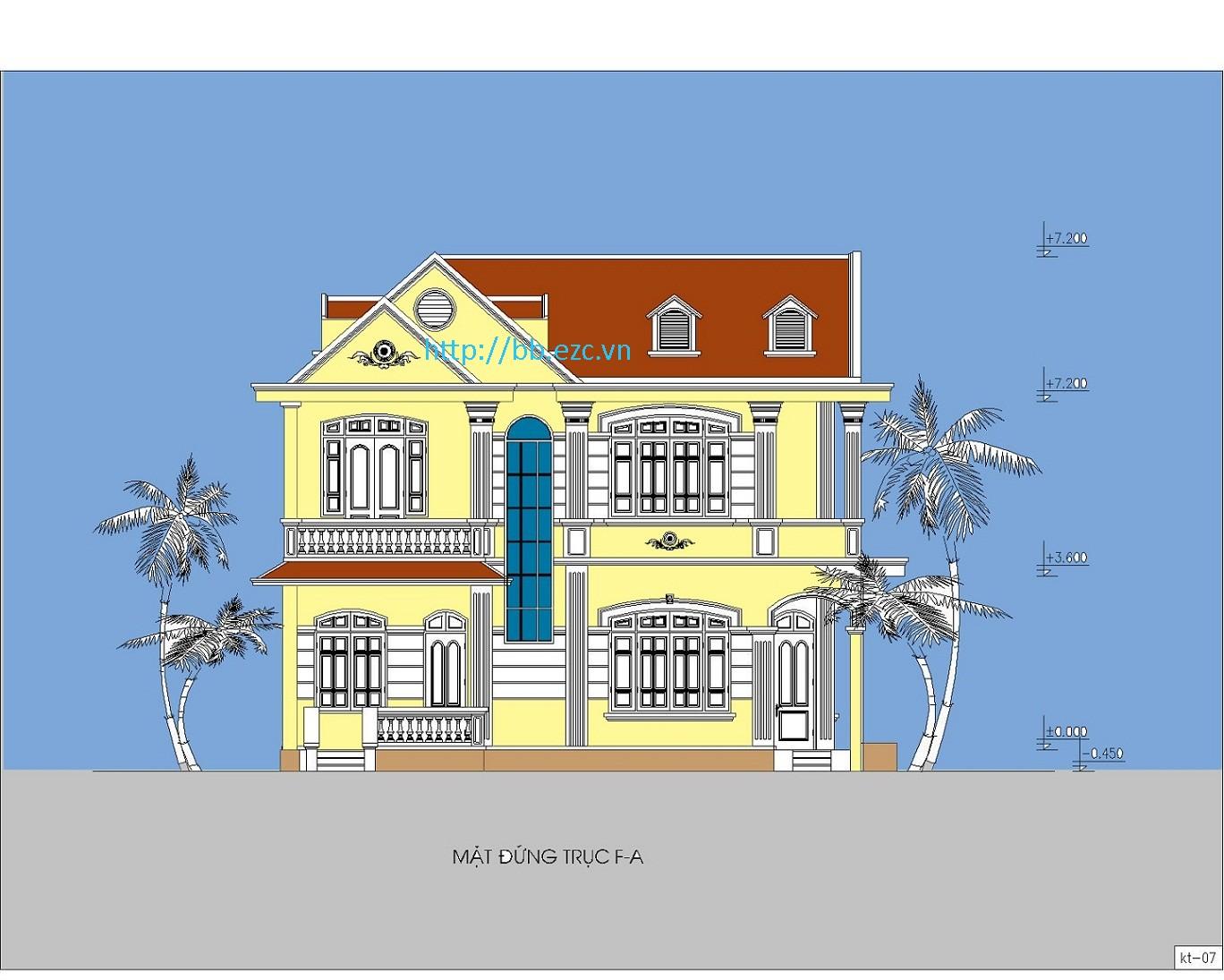 Biệt thự / nhà vườn 10x12m (2 tầng - 4 phòng ngủ) - Mặt đứng chính