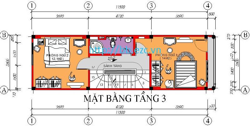 Mặt bằng tầng 3 - nhà ống 3,6x11,5m - 2 phòng ngủ ở về 2 phía cầu thang