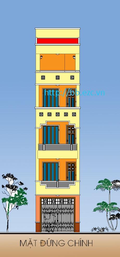 Mặt đứng nhà ống 3.6x11.5m - 5 tầng, 4 phòng ngủ