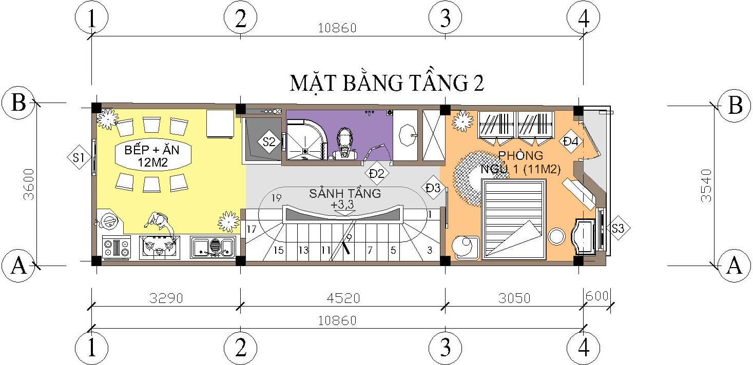 Nhà ống / nhà phố 3.6x11m - Mặt bằng tầng 2