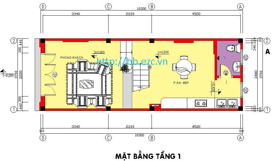 Mặt bằng tầng 1 nhà ống 3.7x10.5m - 4 phòng ngủ - 4 tầng