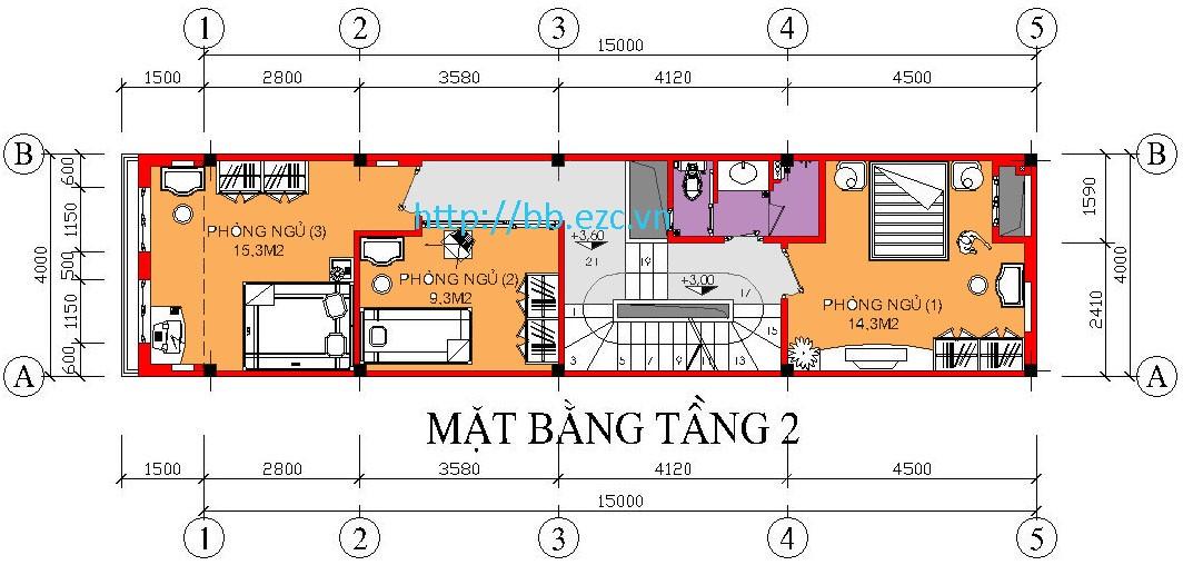 Nhà ống (nhà phố) 4x15m - Mặt bằng tầng 2