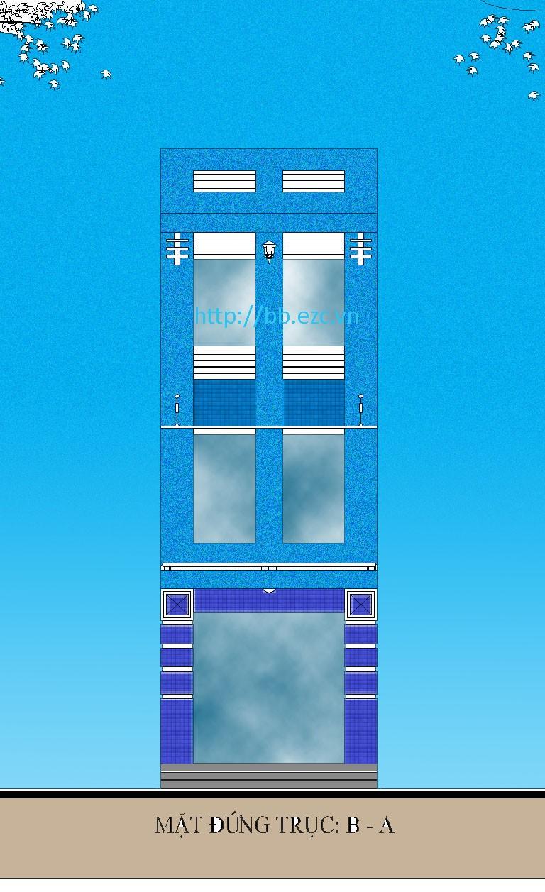 Nhà ống (nhà phố) 4x15m - 3 tầng - 3 phòng ngủ