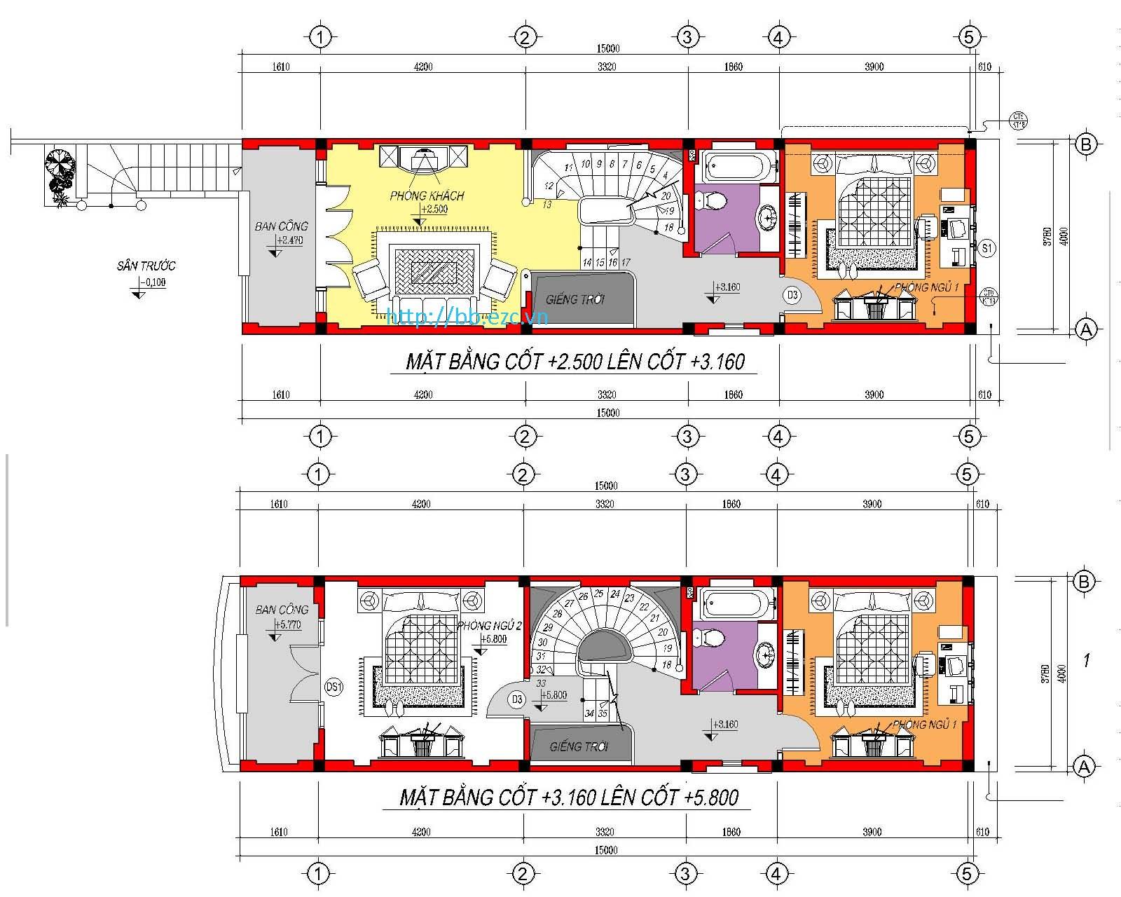 Nhà ống (nhà phố) 4x20m - 5 tầng - 4 phòng ngủ