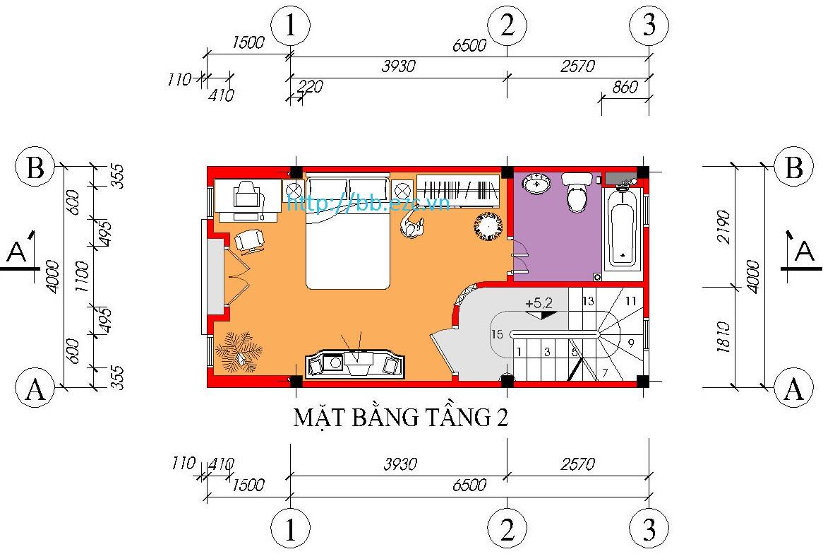 Nhà ống (nhà phố) 4x6.5m - 5 tầng - 3 phòng ngủ - Mặt bằng tầng 2