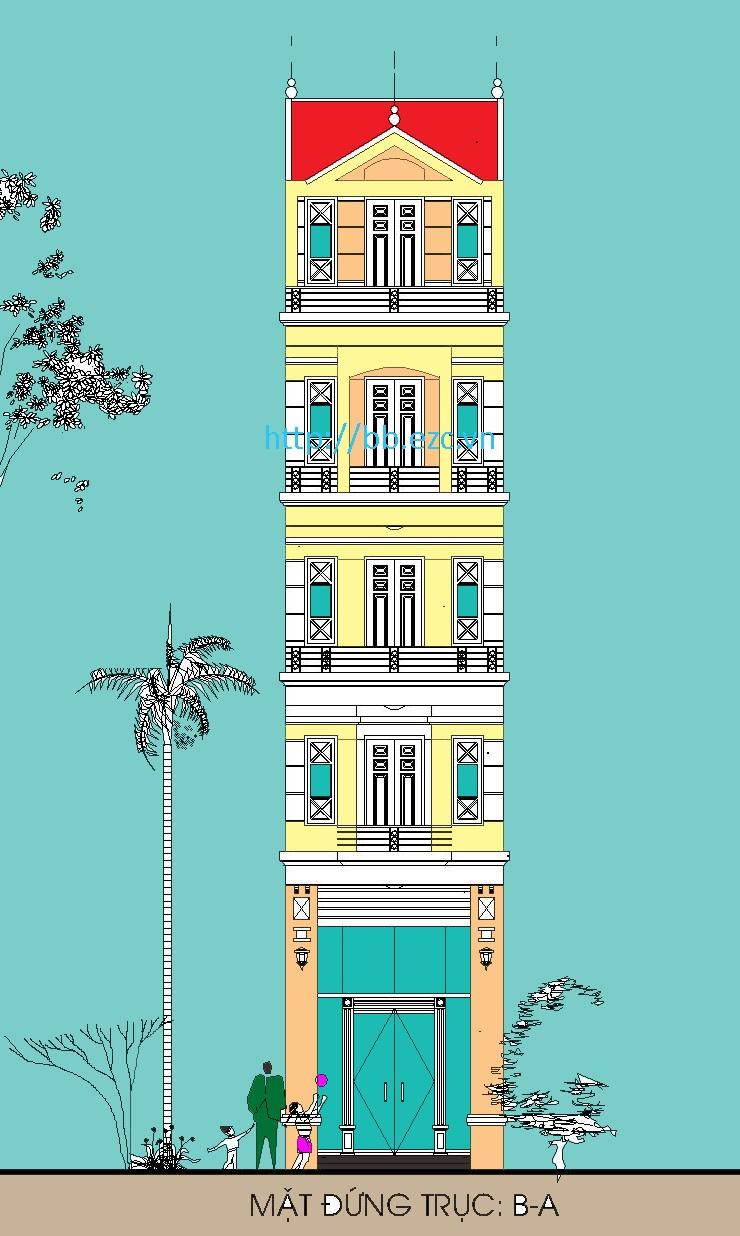 Nhà ống (nhà phố) 4x6.5m - 5 tầng - 3 phòng ngủ