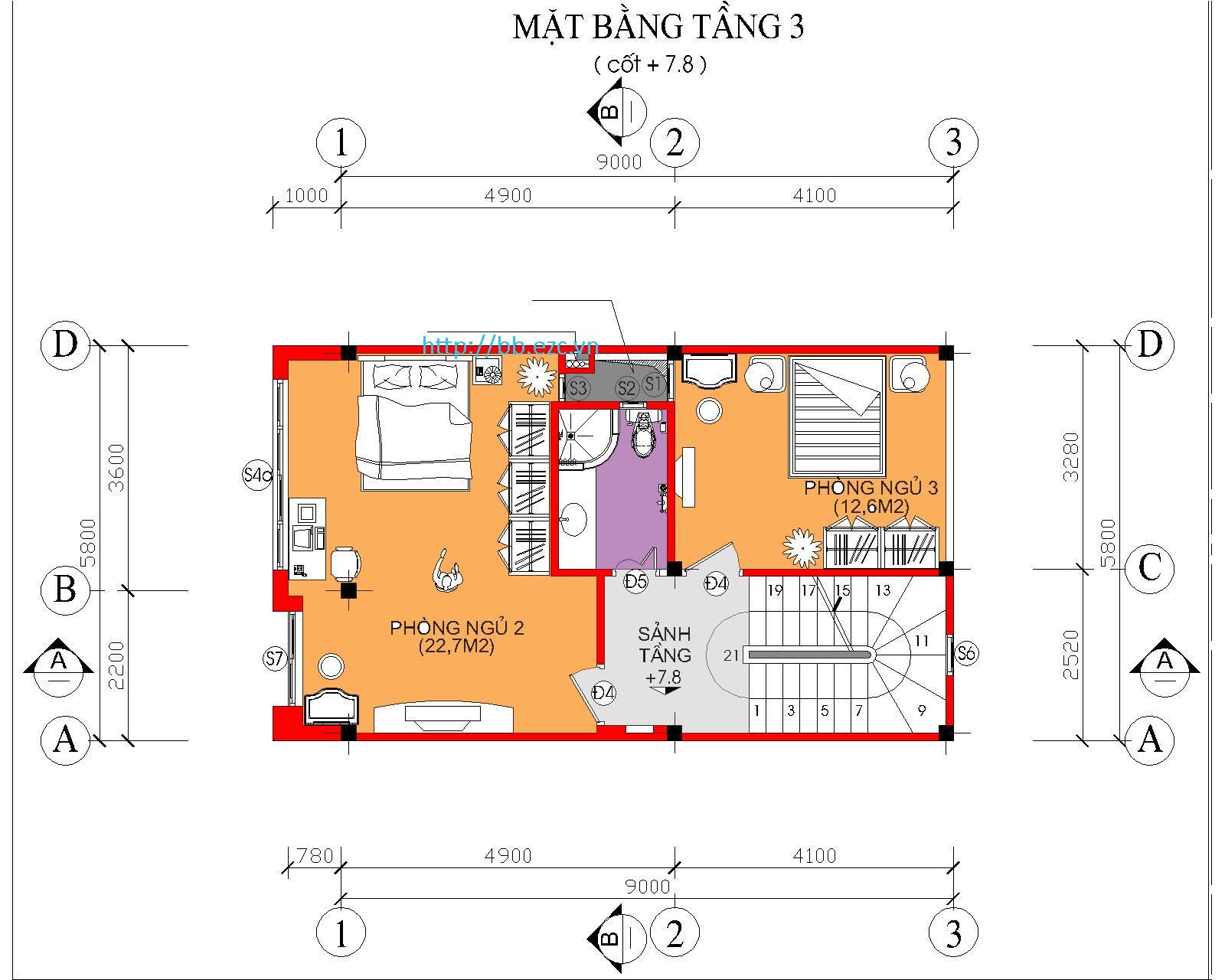 Nhà ống (nhà phố) 5.8x9m - 5 tầng - 3 phòng ngủ - Mặt bằng tầng 3