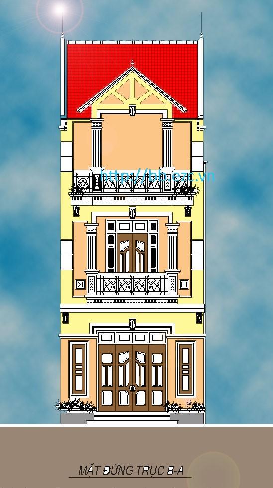 Nhà ống (nhà phố) 5x16m - Mặt đứng khá cầu kỳ