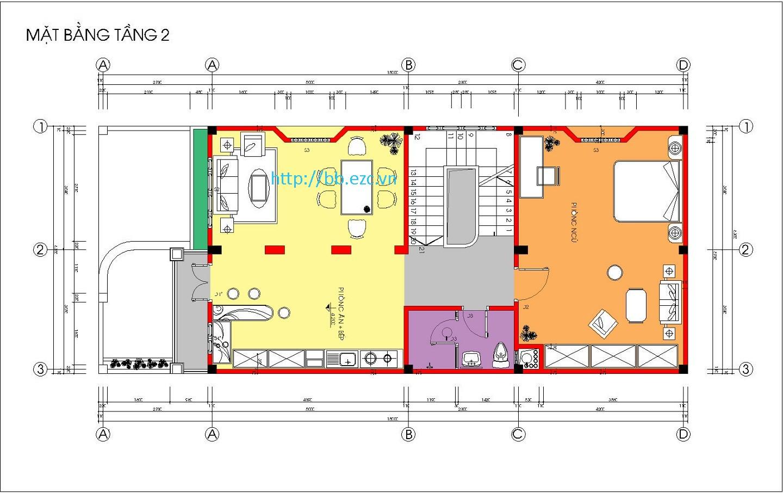 Nhà ống (nhà phố) 6.3x15m - 3 tầng - 3 phòng ngủ - Mặt bằng tầng 2